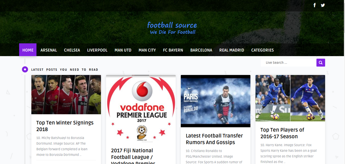 Football Source (Portfolio)